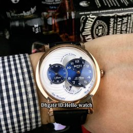 luxury watch sub automatic 2019 - Cheap New Bovet 19Thirty Dimier RNTS0004 White Dial Blue Sub-dial Automatic Mens Watch Rose Gold Case Leather Strap Gent