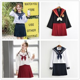 Discount japanese sexy girls uniform - Kawaii Japanese Girls Sailor Suit Cosplay Costume Sexy Women Harry Preppy Style High School JK Uniforms Long Sleeve t sh