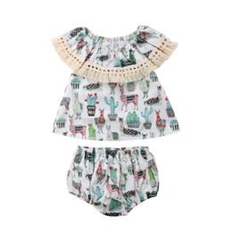 8e9d068aa 2018 INS bebé niña niño 2 piezas conjunto trajes fuera del hombro Borlas de  encaje cactus Tank Tops Camisas chaleco + pantalones cortos Pantalones  bombachos