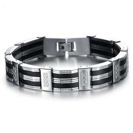 $enCountryForm.capitalKeyWord UK - Silver Black Color Fashion Simple Men's Silicone Bangle Stainless Steel Bracelet Watchband Jewelry Gift for Men Boys 850
