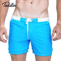 hot men beach swimwear 2019 - Taddlee Brand Hot Sale Sexy Men Swimwear Swim Boxer Trunks Beach Board Shorts Plus Big Size Solid Color Basic Men's
