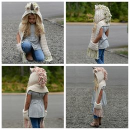 Knitting infant hats online shopping - 2 in unicorn scarf cap Kids Infant Llama Warm Knitted Hats Children AMUSE cartoon warmer Winter crochet Hat Colors AAA1013