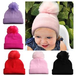 c005ae5997a569 Knitted Children Novelty Hats Australia - Baby Winter Hat Pompom Caps  Toddler Boys Girls Knitted Cap