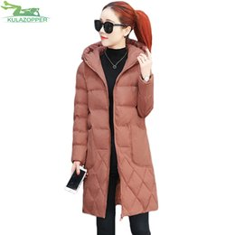 Womens Parkas Canada - KULAZOPPER Down cotton winter womens coat 2018 New Big code padded outwear loose female long feather cotton jacket parkas YL037
