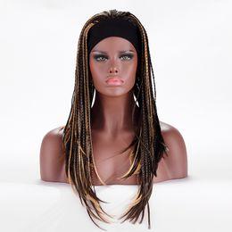 $enCountryForm.capitalKeyWord NZ - ZhiFan afro wigs for styling braids wigs for black ladies women 20inch mix colors black brown weft wigs headbands