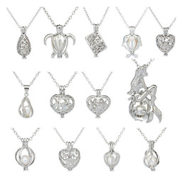 $enCountryForm.capitalKeyWord NZ - Silver Pearl Cage Pendant Necklace With Oyster Pearl Mix 12 Designs Interchangeable 6-8mm Lava Beads Own Stones Scent Diffuser Locket