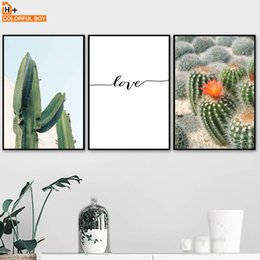 $enCountryForm.capitalKeyWord NZ - COLORFULBOY Wall Art Canvas Painting Cactus Landscape Nordic Posters And Prints Pop Art Canvas Pictures For Living Room Decor