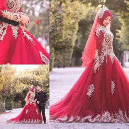 $enCountryForm.capitalKeyWord Australia - Muslim Hijab Gold Appliques Red Wedding Dresses High Neck Sequins Long Sleeve Fashion Bridal Dresses Custom Made Luxurious Wedding Gowns