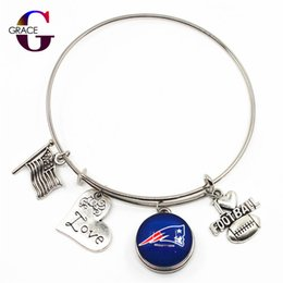 Discount sports south - I Love Football With Sports Team Ginger Snap Buttons Adjustable Expandable Bangle Charm Bracelet For Women