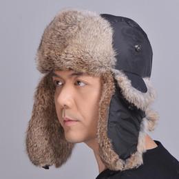 Men Fur Bomber Hat Canada - Unisex Genuine Rabbit Fur Trapper Hat Rabbit Fur  Earflap Cap 6009c2af15f0