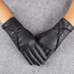 ff7282f26d799 7 Photos Thick Warm Ladies Gloves Australia - Fashion Women PU Leather Gloves  Lady Winter Thick Warm Mittens