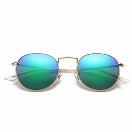 0633d8721da Brand Round Metal Sunglasses Designer Eyewear Gold Flash Glass Lens For Men  Women Ray Mirror Sunglasses unisex sun glass with cases and box