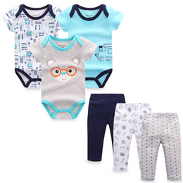 fefec37ffbe26 6 Pieces set Newborn Baby Boy Clothes Pants Roupa Infant Short Sleeve Baby  Bodysuits Bebes Girls Jumpsuits Baby Clothing Sets