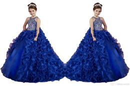 luxury little girl pageant dresses 2019 - Luxury Royal Blue Little Girls Pageant Dresses Ruffled Crystal Beads Princess Dance Ball Gowns Kids Party For Wedding Fl