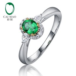 pave diamond white gold 2018 - Caimao Oval Cut 0.37ct Natural Emerald Waterdrop Diamond Engagement Ring for Women 14kt White Gold S923 discount pave di