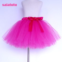 red white blue tutus UK - 2018 NEW Rose-carmine tulle toddler children baby costume ball gown party dance wedding short pettiskirt tutu girl kids skirt