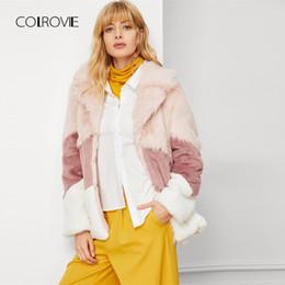 9028c58e20e ElEgant jackEts korEan online shopping - Color Block Long Faux Fur Coat  Women Autumn Korean Fashion