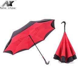 Chinese  NX Windproof Reverse Walking Stick umbrella Long Shank Inverted Double Layer Creative Self Stand Rain Protection golf Umbrella manufacturers