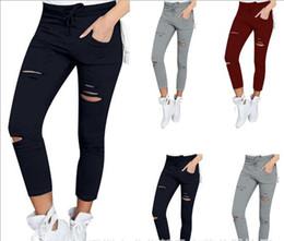 $enCountryForm.capitalKeyWord Canada - Women Fashion Skinny Pencil Pants Ladies Stretch Drawstring Casual Hole Broken Trousers Plus Size 4XL High Waist Stretch Capris Hot