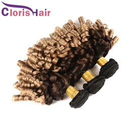 Discount fumi hair extensions - Three Tone Honey Blonde Aunty Funmi Romance Curls Virgin Peruvian Ombre Weave 1B 4 27 Fumi Egg Curls Human Hair Extensio