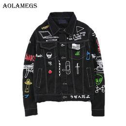 ec4e4bcdd7c Aolamegs Men Denim Jacket Men s Graffiti Hip Hop Cowboy Jackets Fashion  Male Jacket Turn-down Collar Cotton Outwear Ripped 2017