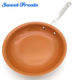 Ceramic Coating Pans NZ - Sweettreats Round Non -Stick Copper Frying Pan With Ceramic Coating And Induction Cooking ,Oven &Dishwasher Safe 10 Inches