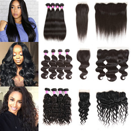 Mink Brazilian Virgin Hair 4 Bundles With Closure Or Frontal 8a Straight Body Deep Water Wave Kinky Curly Human Hair Weft Extensions Weave on Sale