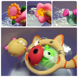 Discount soft fish baby toys kid bath toy Animals Water Toys Cat Fishing spoonnet toys Colorful Soft Float Squeeze Sound Squeaky Bathing Toy For Baby