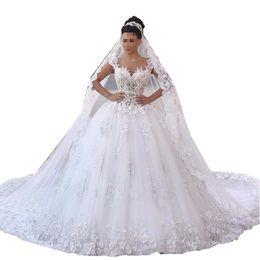 See Through Wedding Dress Crystal Beading UK - Vestido de noiva princesa luxo Backless Sweetheart Lace Wedding Dress See Through Royal Tail Luxury Bridal Dress Robe de mariee