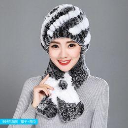 Rabbit Fur Scarves Caps Australia - Fashion girl fur cap lady winter natural real rex rabbit fur hat scarf Suite high quality women 100% genuine free shipping