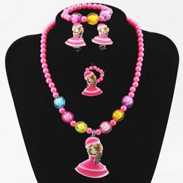 $enCountryForm.capitalKeyWord Australia - Girls Necklace Bracelet Set of 4 Cartoon Girl Imitation Pearl Necklace Set