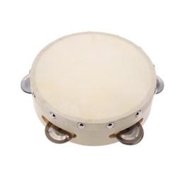 Venta al por mayor de 6 pulgadas de mano de tamborilín tambor de metal Jingles percusión juguete musical para KTV Party Kids Games