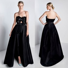 Strapless Black Jumpsuit NZ - Cheap Black Jumpsuits Prom Dresses With Detachable Train Bow Strapless Neck Formal Evening Gowns Satin Overskirt Prom Dress