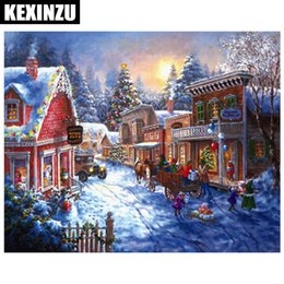 animal houses pictures Australia - New Arrival 5D diy diamond painting cross stitch landscape diamond embroidery snow house picture round diamond mosaic forest home decor