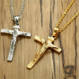 Mode Kreuz Anhänger Halskette Armband Gold / Schwarz Gun Überzogen / Edelstahl Religiöse Schmuck Für Frauen / Männer Glaube Halskette