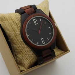 Wholesale Fashion Japan Quartz Luxury Man Wood Watch Big Arabic Number Vintage Bamboo Wooden Band Wristwatches Red Hand Antibrittle