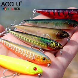 trolling lures Australia - AOCLU wobblers Super Quality 6 Colors 60mm Hard Bait Minnow Crank Popper Stick Fishing lures Bass Fresh Salt water 10# VMC hooks Y18100906