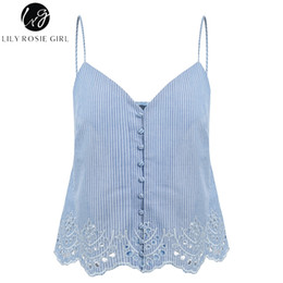 lilies embroidery UK - Lily Rosie Girl High Street Button Embroidery Crop Top V Neck Spaghetti Strap Sweet Lace Up Short Sexy Camis