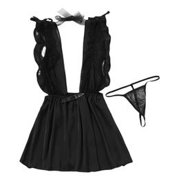 5c1a43c784 20187 AZULINA Women Bodysuit Sheer Lace Panel Babydoll Black White Sexy  Club Wear Plunging On Front And Back With Ribbon Tie Playsuits