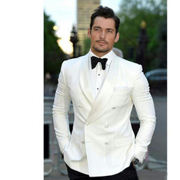 Tuxedo besT man blue online shopping - 2019 Latest Ivory Mens Suits Groom Tuxedos Groomsmen Wedding Party Dinner Set Double Breasted Best Man Suits Jacket Pants