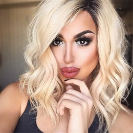 $enCountryForm.capitalKeyWord NZ - Cosplay Blonde Ombre Wigs Short Bob Curly Wavy Lace Front Wig Heat Resistant Synthetic Lace Front Wigs for Black Women