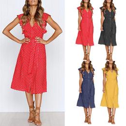 Female Dresses NZ - Women Summer Dot Print V Neck DressParty Evening Beach Long Dress Fashion Women Clothse Dresses Female Vestidos