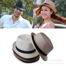 $enCountryForm.capitalKeyWord NZ - Fashion Summer Straw Women's Sun Hats Fedora Trilby Gangster Cap Summer Beach Sun Straw Panama Hat with Ribbow Band Sunhat