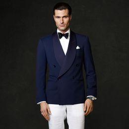 $enCountryForm.capitalKeyWord NZ - Handsome 2018 Navy Blue Men Suits Wedding Suits Shawl Lapel Bridegroom Custom Made Slim Fit Formal Tuxedos Best Man Blazer Prom Party 2Piece