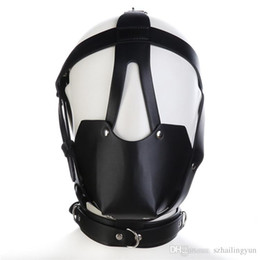 Head restraints sex online shopping - Adult Studded Genuine leather or Faux leather Head Harness Muzzle Gag with Neck Strap Sex Bondage Fetish Restraint Face Mask Punk Hoods