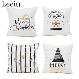 cushion f NZ - Leeiu Happy New Year Christmas Decoration Pillow Case For Home Soft Fabric Merry Christmas Cushion Covers Party Supplies Y18102609