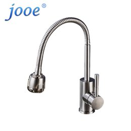 2018 Brushed Stainless Steel Kitchen Taps Jooe Stainless Steel Kitchen  Faucet Mixer Cold And Hot Single
