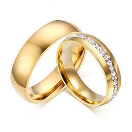 wedding gold rings male female NZ - Gold color Stainless Steel Wedding Bands Shiny Crystal Ring for Female Male Jewelry 6mm Engagement Ring USA Size 5-13