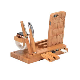 port mount UK - DHL Natural Bamboo cell phone mounts Charger with USB Ports watch holders Platform for Apple Samsung Huawei Xiaomi cellphones Smart Phone