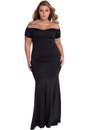 $enCountryForm.capitalKeyWord UK - Off Shoulder Sexy Party Gowns Summer 2018 Big Women Black Plus Size Fishtail Maxi Dress